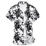 WanYangg Uomo Hawaiana Camicia Aloha Manica Corta Estate Vintage Fiori Top Casual Funky Maglietta Shirt Tops Nero&Bianco L