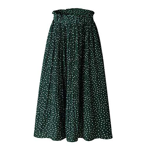 WSLCN Damen Sommer Midi Rock Vintage Elegant Faltenrock Plissee Skirt Strandrock Grün Polka Dot S : Taille 66-80cm -
