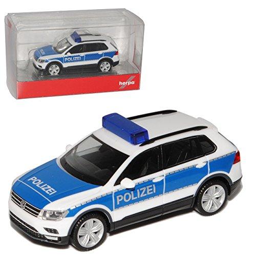 Preisvergleich Produktbild VW Volkswagen Tiguan II Weiss Blau Polizei 2. Generation Ab 2015 H0 1/87 Herpa Modell Auto