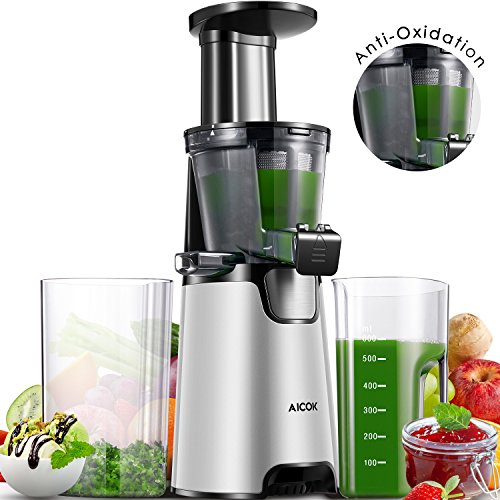 Aicok Juicer Slow Masticating juicer, Juice Extractor with 150W Quite Motor for High Nutrient Fruit and Vegetable Juice, Frozen Desserts, Include Juice Jug and Cleaning Brush, Silver