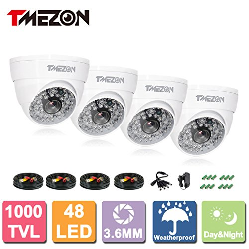 "TMEZON 1/3"" 4x1000TVL 960H 48 IR-Leds 3.6mm Lens High Resolution Build-in IR Cut Color Day Night Vision 130ft Metal Outdoor/indoor Weatherproof Security Surveillance Dome White CCTV Camera"