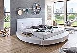 SAM® Design Rundbett Bebop, Bett in weiß, mit intergrierter Beleuchtung, LED, Kopfteil abgesteppt, mit Chromfüßen auch als Wasserbett verwendbar, 180 x 200 cm