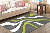 Merinos | Teppich | Diamond | Hand Curved | Wellen Design | Rechteckig | Öko-Tex zertifiziert | 100% Merilon Frisee | Grün | Größe 120cm x 170cm