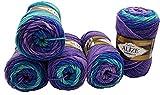 Alize Lanagold Batik - Gomitolo di Lana con Sfumature di Colore, 5 x 100 g, 49% Lana, 500 g, Multicolore