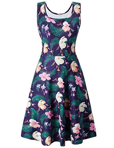 uideazone Damen Ärmelloses Beiläufiges Strandkleid Blume Sommerkleid Tank Kleid Ausgestelltes Trägerkleid Knielang Floral Sommer Tank Kleid