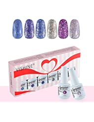 Vishine Vernis à Ongles Gel Soak Off Semi Permanente Gelpolish Lot 6 x 8ml Cadeau Kit C053