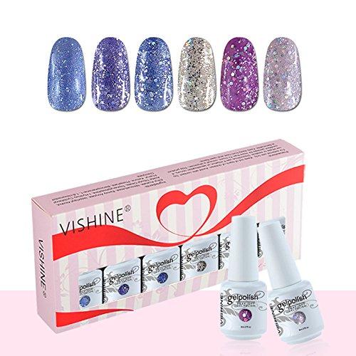 Vishine Coffret Vernis à Ongles Gel Soak Off Semi Permanente Gelpolish Lot 6 x 8ml Cadeau Kit C053