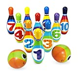 Juego de Bolos para Niños, Bowling Set Party Toys, Foam Ball Toy Gifts para Toddlers Early Development, 10 Pines 2 Balls Funny Plastic Bowling Set Kit para Niños Pequeños Niños Niños Niñas
