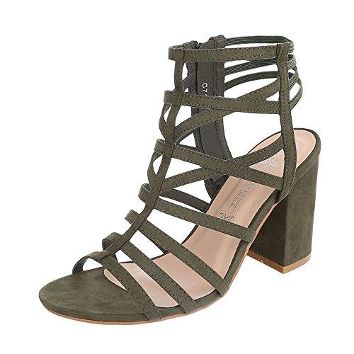 High Heel Sandaletten Damenschuhe Plateau Pump Riemchen Reißverschluss Ital-Design Sandalen / Sandaletten Olive