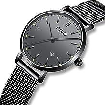 CIVO Relojes para Mujer Reloj Damas de Malla Impermeable Elegante Silm Fecha Calendario Banda de Acero