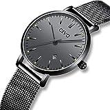 CIVO Herren Damen Uhren Unisex Ultra Dünne Minimalistische Wasserdicht Männer Uhren Elegant Luxus Geschäfts Beiläufig Uhr mit Schwarzes Milanese Mesh Uhrenarmband Analog Quarz Uhren (Schwarz/Damen)