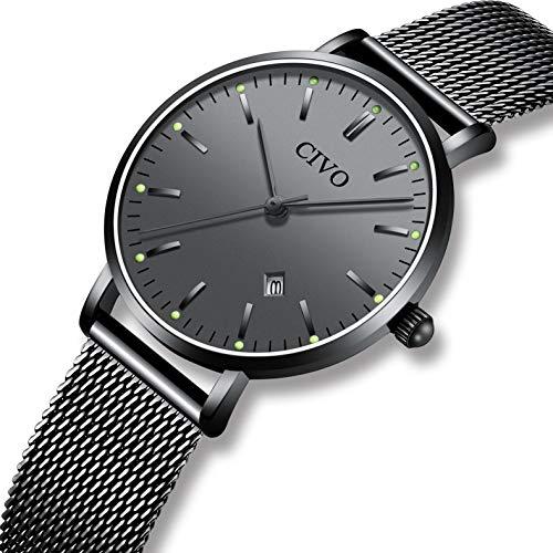 CIVO Relojes para Mujer Reloj Damas de Malla Impermeable Elegante Silm Fecha Calendario Banda de Acero Inoxidable Relojes de Pulsera Moda Vestir Negocio Lujo Casual Reloj de Cuarzo Negro