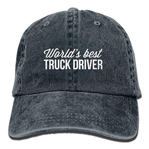 Hoklcvd Der Beste LKW-Fahrer der Weinlese-Unisex-Welt Gewaschene Baseballmütze justierbare Kappe-Vati-Hut-Fernlastfahrer-Kappen ()