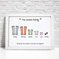Personalised Family Wellie Boot Print - A5, A4 Prints & Framed