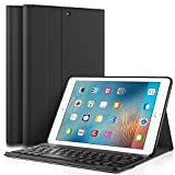 IVSO iPad 9.7 Zoll 2017 QWERTY Tastatur, Abnehmbare Wireless Bluetooth Tastatur Schutzhülle mit Standfunction Für Apple iPad 2017 9.7 Zoll Tablet, Schwarz