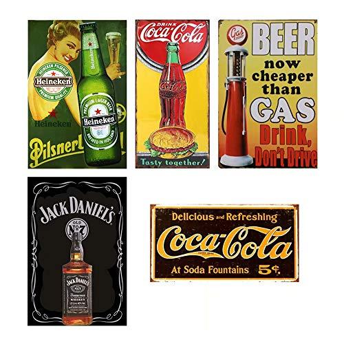 CrystalB Vintage Coca Cola Dekor für Bar Coca Cola Küche Dekor Heineken Schild Jack Daniel's Wanddeko Mancave Dekorationen Bier Blechschild Coca Cola Blechschild Vintage Küche Dekor
