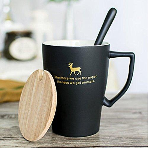ZHGI Contrassegnare tazza di uomini e donne in ceramica tazza mug in vetro smerigliato di latte vetro tazza di caffè,fresco nero