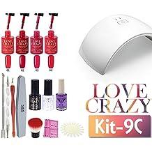 LoveCrazy 4pcs Kit De Colores 1- 4 Esmaltes en Gel Manicura Semipermanente + TopCoat y BaseCoat UV LED Manicura Arte+Lámpara Secador 9C de Uñas UV/LED+Removedores+ Lima+otros productos (9C KIT 1-4)