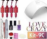 LoveCrazy 4pcs Kit De Colores 1- 4 Esmaltes en Gel Manicura Semipermanente + TopCoat y BaseCoat UV...