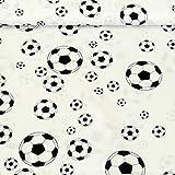 Baumwollstoff Fußball weiß schwarz weiß 1,40m Breite