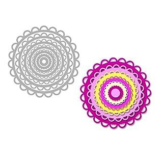 Sizzix Kreise Scallop von Stephanie Barnard Framelits Die Set, Mehrfarbig, 7Stück
