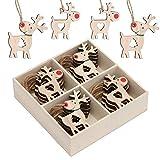 Valery Madelyn 24 Pezzi Natale Ciondolo in Legno cm in Legno Ciondolo Natalizio Decorazione Natalizia Cervo Figurine con Naso Rosso Renne per Appendere Decorazione Natalizia Legno Colore Rosso