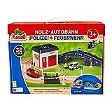Playland Holz Autobahn Polizei + Feuerwehr Set 38 Teile