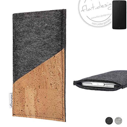 flat.design Handy Hülle Evora für Alcatel Flash handgefertigte Handytasche Kork Filz Tasche Case fair dunkelgrau