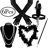 Outee Flapper Kostüm für Damen, Flapper Zubehör 1920er Jahre Zubehör Set Flapper Kostüm Flapper Stirnband Halskette Handschuhe Zigarettenspitze Set für Frauen Kostüm
