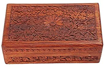 india bigshop regalo di giorno del padre Artigianali in legno indiano Jewelry Box Brass Inlay design fiore unico 7 x 5 pollici