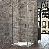 Eckeinstieg Duschabtrennung 90x90x195cm Klappbar Duschkabine Doppel Falttür Duschtür Duschwand Nano-Beschichtung