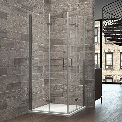 EMKE Eckeinstieg Duschabtrennung 90x90x195cm`Duschkabine Doppel Falttür Duschtür Duschwand Nano-Beschichtung -