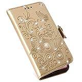 MoreChioce Galaxy A5 2017 Lederhülle,Galaxy A5 2017 Handytasche, Retro Gold Diamante Schmetterling Klapphülle Stand Flip Wallet Case Schutzhülle mit Kartenfach kompatibel Galaxy A5 2017