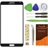 Samsung Galaxy Note 3III SM-N9000N9005lente pantalla de repuesto Kit de reparación de vidrio frontal exterior pantalla CrazyFire de cristal de repuesto, con cinta adhesiva, Kit de herramientas, 1par de pinzas y 1rollo Micro alambre protector de separador, Negro