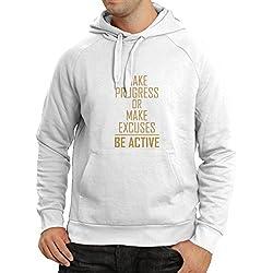 lepni.me Felpa con cappuccioBe Active - vivere senza scuse - motivazione - citazioni quotidiane di ispirazione per il successo (X-Large Bianco Oro)