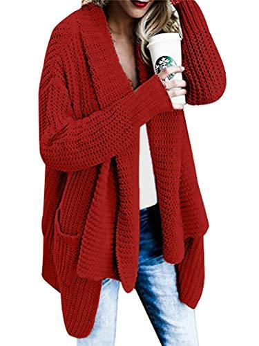 Orandesigne cardigan donna lungo maglione lavorato a maglia senza chiusura maglieria tops elegante autunno inverno rosso it 42