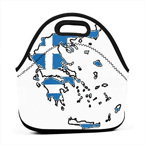 Bidetu Map of Greece with Greek Flag Leakproof Reusable Insulated Cooler Lunch Bag - Office Work Picnic Hiking Beach Lunch Box Organizer for Women,Men