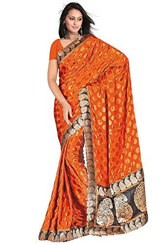 Dark Orange zari work embroidered plain jacquard sarees
