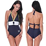Ein Stück Badeanzug Features Stil Damen Bademode Stahl Ring Sexy Dessous Halfter Europa Große Größe Siam Blau Xl