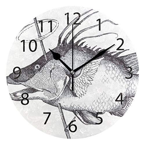 XiangHeFu Reloj de Pared, Redondo 10 Pulgadas de diámetro Silent Fisherman Hunter Decorativo...