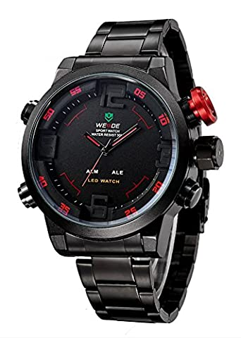 Jechin Military Watches Men Luxury Brand Full steel Watch Sports Diver Quartz Wristwatch Multi-function LED Display