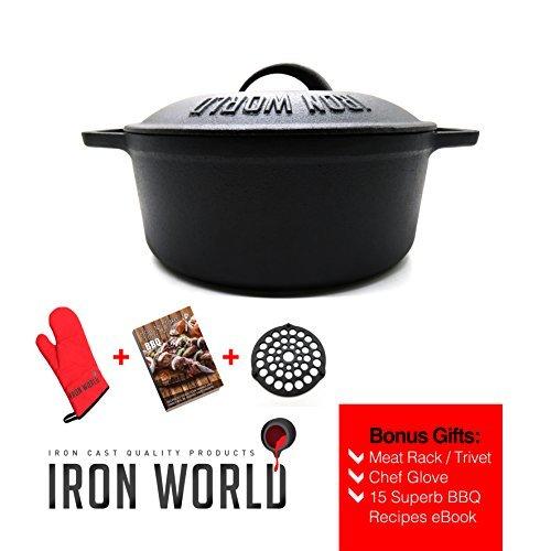 Gusseisen Dutch Oven 25,4cm 3.5qt by Eisen World | Hand Made, schwarz, vor Seasoned | 3x Bonus-Geschenke-99% Gutschein für A $15maet Rack/Untersetzer, Chef Handschuh und BBQ Rezepte eBook