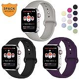 Hamile Compatible avec Apple Watch Bracelet 38mm 40mm, Sport en Silicone Souple Remplacement Bracelet pour Apple Watch...