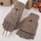 Herbst und Winter wilde koreanische nette Wolle gestrickte fingerlose Handschuhe Studentinnen starke warme halbe Finger Flip-Handschuhe (Farbe : C)