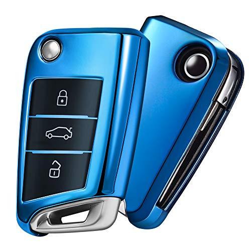 Autoschlüssel Hülle VW,VW Golf 7 Schlüsselbox,Schlüsselhülle Cover für vw Polo Skoda Seat 3-Tasten (Blau)[Verpackung:MEHRWEG]
