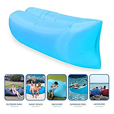 Inflatable Lounger,OUTDAY Portable Air Beds Sleeping Sofa Couch,Air Mattresses Beds for Travelling, Camping, Beach, Park, Backyard (Blue) - low-cost UK light store.