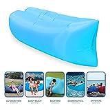 Lit bain de soleil gonflable, lits gonflables et portables, canapé de couchage, matelas gonflables. Lits pour voyage, camping, plage, parc et jardin (bleu)