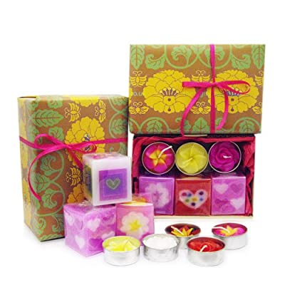 Candle Gift Set Of 3 Handmade Fairtrade Scented Cube Candles In Colourful Candy Colour And 5 Handmade Fairtrade Scented Flower Tealight Candle Gift Set by Hana Blossom