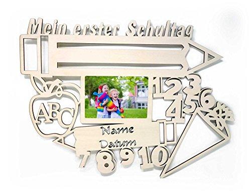 Bilderrahmen 10x15 cm Geschenk zur Einschulung mit Namen & Datum personalisiert I Holz Kinder Geschenke erster Schultag