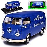 Welly Volkwagen T1 Blau Porsche Wagen Ersatzteile Dienst Samba Bully Bus 1950-1967 1/18 Modell Auto